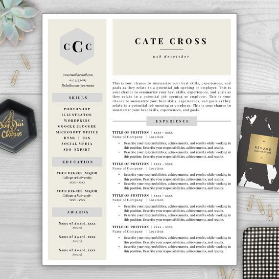 monogram resume template professional by resumetemplatestudio