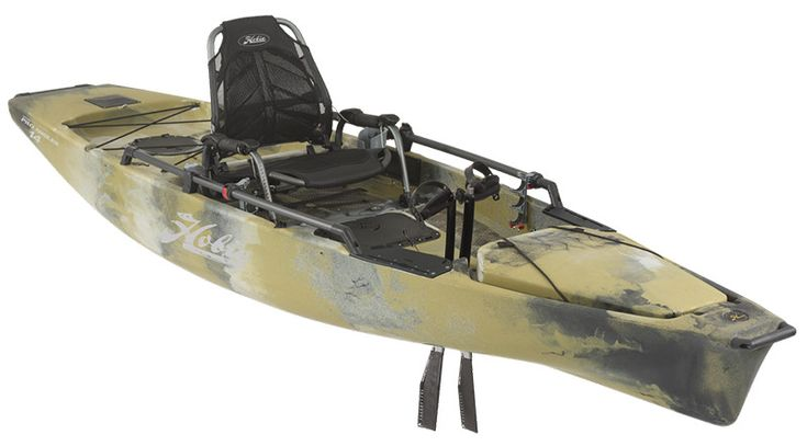 The Hobie Fishing Kayak Mirage Pro Angler 14 is the ultimate single fishing kayak available. With an elevated seat, six rod holders and a pedal kayak drive.