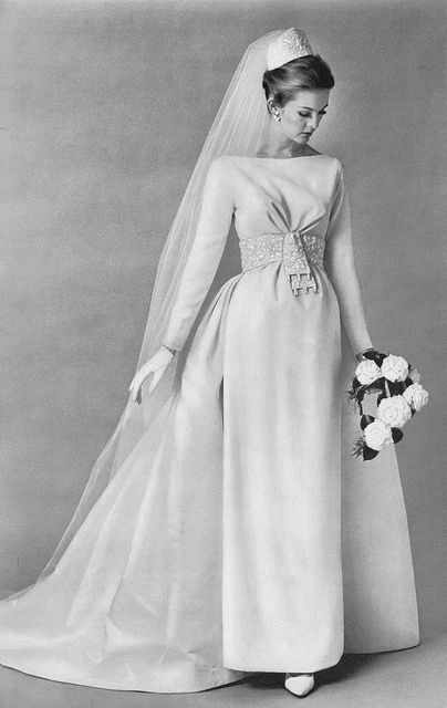 Early-mid 1960s wedding gown bride dress white veil column shift train