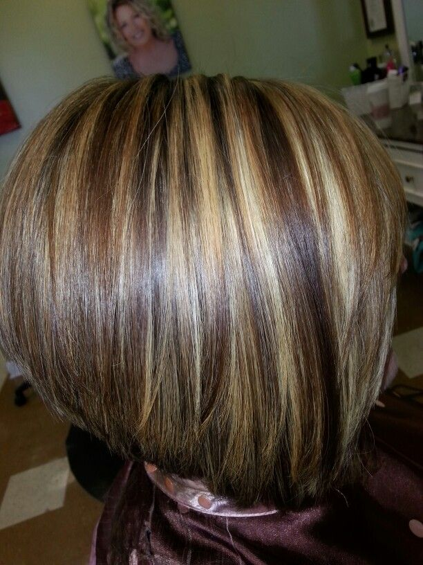 Inverted Bob Chunky Highlights Warm Brown Lowlites By