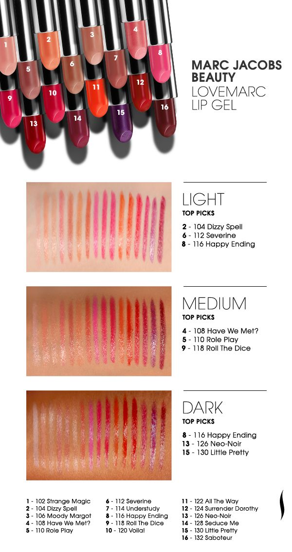 See it swatched: Marc Jacobs Beauty Lovemarc Lip Gel #makeup #lipstick #swatches #MarcJacobs #Sephora