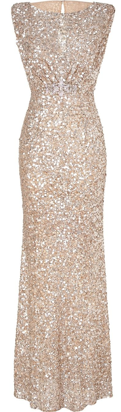 Soft gold sleeveless sequin dress