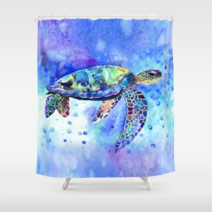 Sea Turtle Underwater Scene Shower Curtain By Sureart Society6