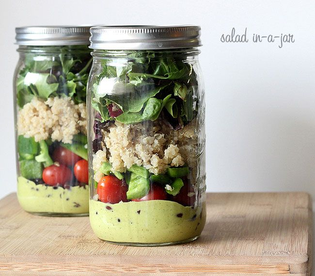 Layered Quinoa Salad-in-a-Jar.  This fills one 32 oz mason jar All veggies should be washed & dried before using.