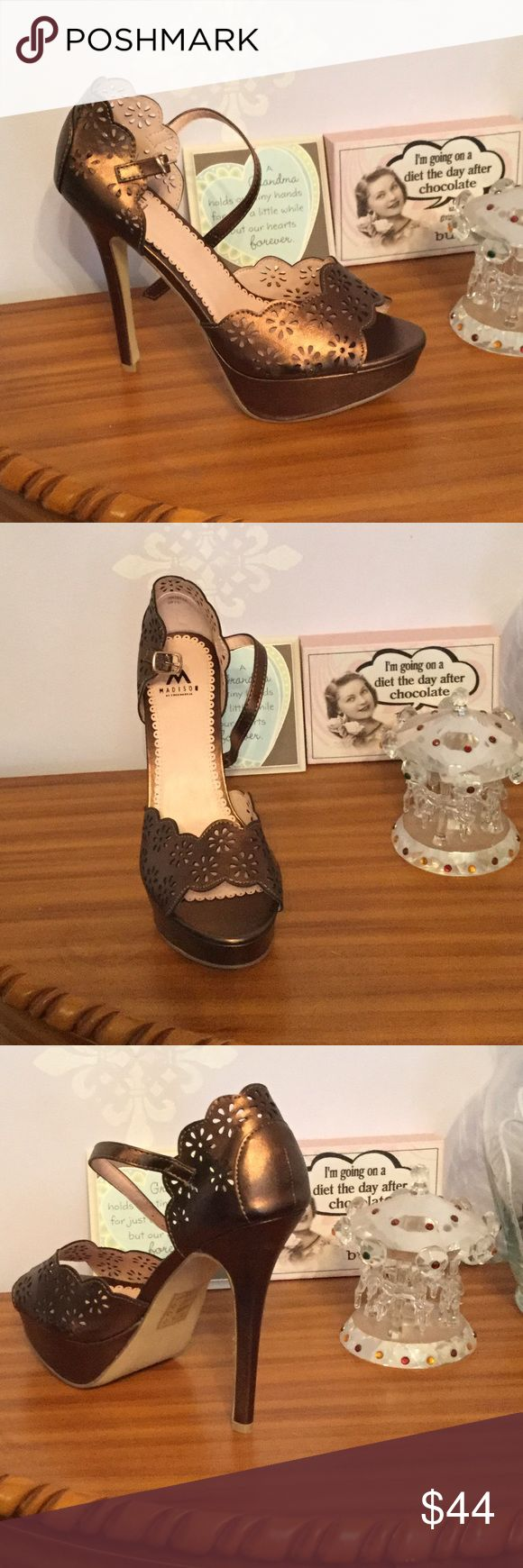Shoes. NWOT Cut outs lace style buckle madison  Shoes Heels