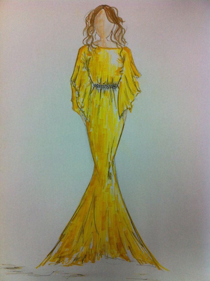 """That yellow dress"" - pencil & pen (fashion illustration)"