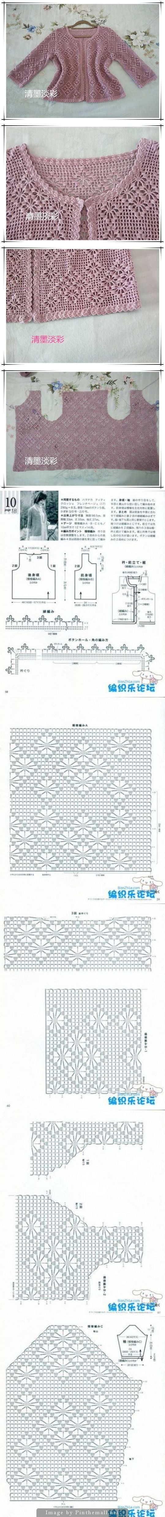 Filet crochet lace jacket with spider design ~~ http://www.liveinternet.ru/users/4729689/post339877732/