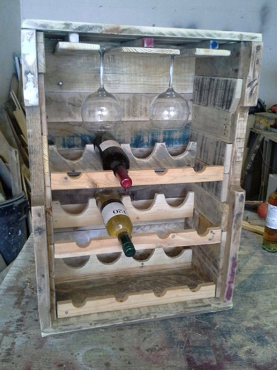 New in the shop. Wine bottle and glass rack.   Wine rack Wine Glass Rack made from Reclaimed Wood by RustedCreek, $235.00