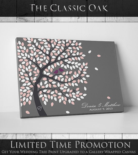 Wedding Tree Guest Book Guestbook Custom Bridal Gift 16x20 20x30 24x36 100 250 Signature Canvas