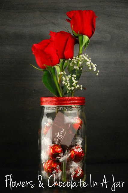 Flowers and Chocolate Gift In A Jar