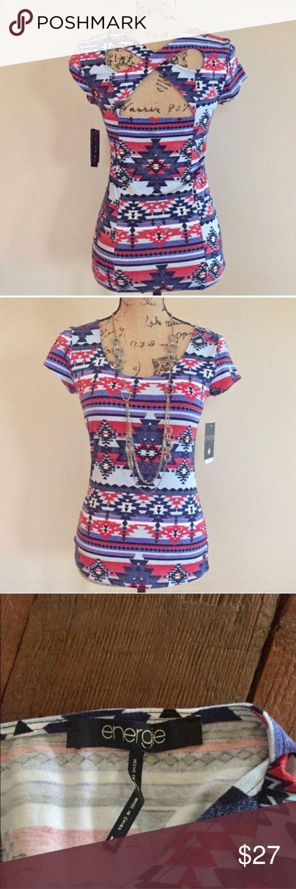 """NWT energie cross back top NWT blue and red Southwestern print top from energie for Macy's has a cross cross accent back. Accents of black, white, and lavender. Scoop neck, short sleeves, fitted shape. Size M. 95% cotton 5% elastane. Machine wash. Bust measures 16"""", length 25"""".  ⭐️ Macy's Tops"""