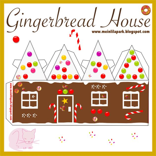 Gingerbread House Templates Printable | Free printable DIY gingerbread house No2 - ausdruckbares Lebkuchenhaus ...