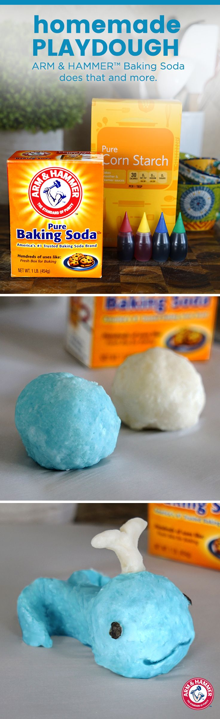Kids at home for the day? We have the perfect activity to keep them busy and entertained! Just add 2 cups of ARM & HAMMER™ Baking Soda, 1 cup corn starch and 1 3/4 cups cold water into a saucepan. Cook over medium heat for 10-15 minutes and stir constantly. (TIP: for colorful clay, add a few drops of food coloring.) Once mixture reaches a gooey consistency, pour onto a plate and cover with a damp cloth. When cool, pat until smooth and let the squishy fun begin!