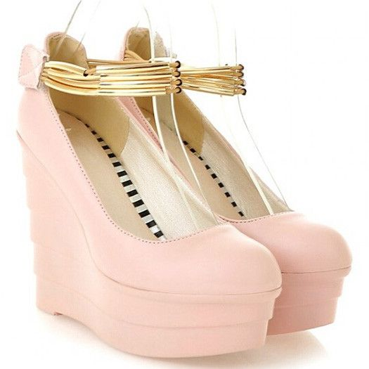 Ankle Strap Platform Pu Soft Leather Thick Soled Pink Metal Wedding Womens Ultra High Heels Ladies Wedge Shoes 2015 Pumps White