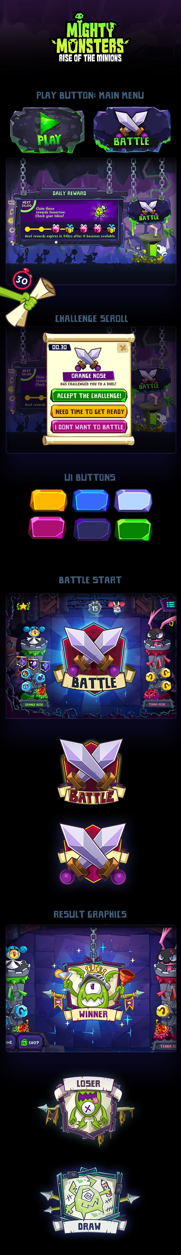 Mighty Monsters: Rise of the Minions iOS game. I helped a friend with the UI colours and attributed to those pages I have posted below.