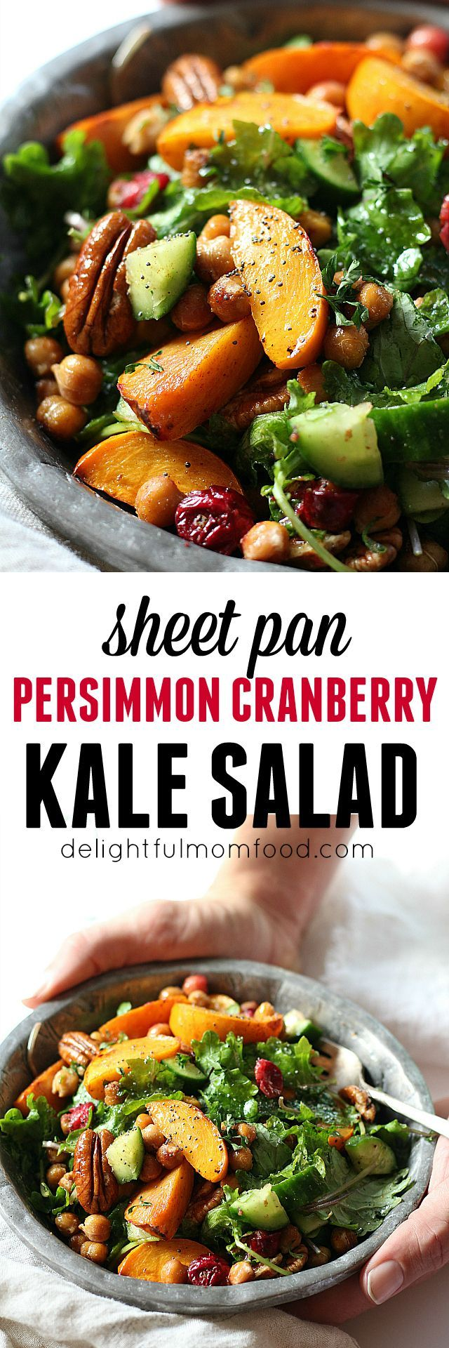 Kale Salad With Chickpeas, Cranberry & Persimmon