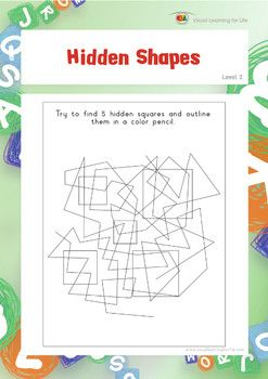 """In the """"Hidden Shapes"""" worksheets, the student must find 5 hidden shapes and outline them.  Available at www.visuallearningforlife.com on the Visual Perceptual Skills Builder Level 2 CD."""