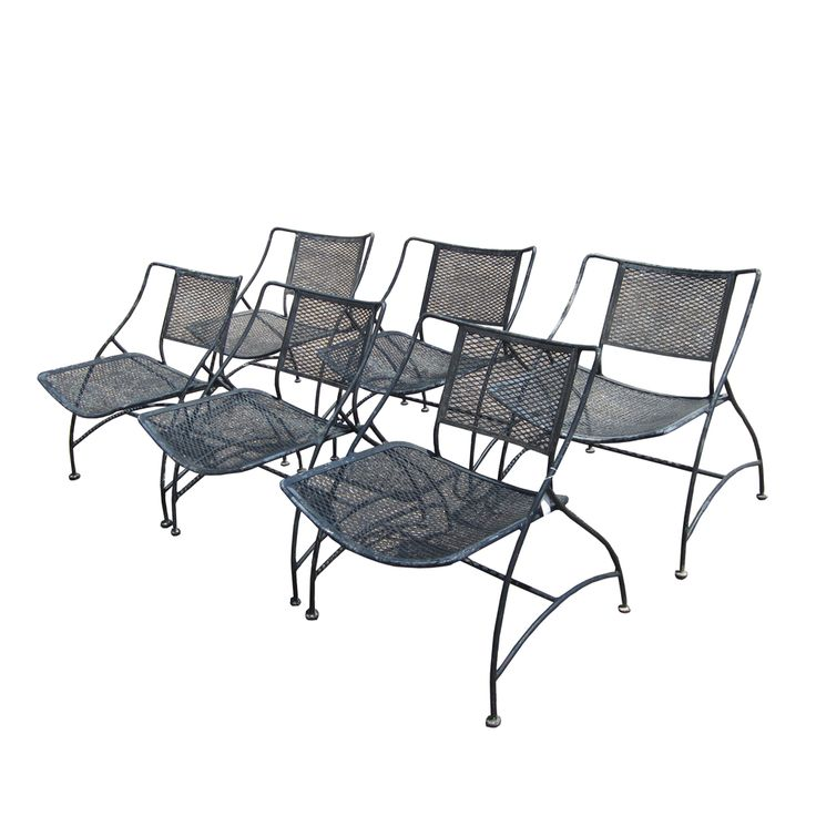 Six Vintage Midcentury Modern Wrought Iron Patio Chairs In The Style Of  Salterini. These Sturdy