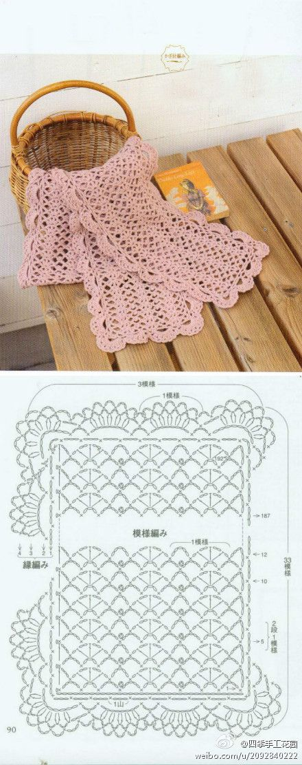 A pretty scarf pattern - I wonder how well this would work in darker colours