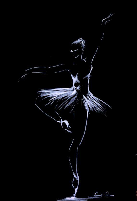 Ballerina Drawing, Original Drawing Art, White on Black, Minimalist Art, Dance Ballet Drawing Art