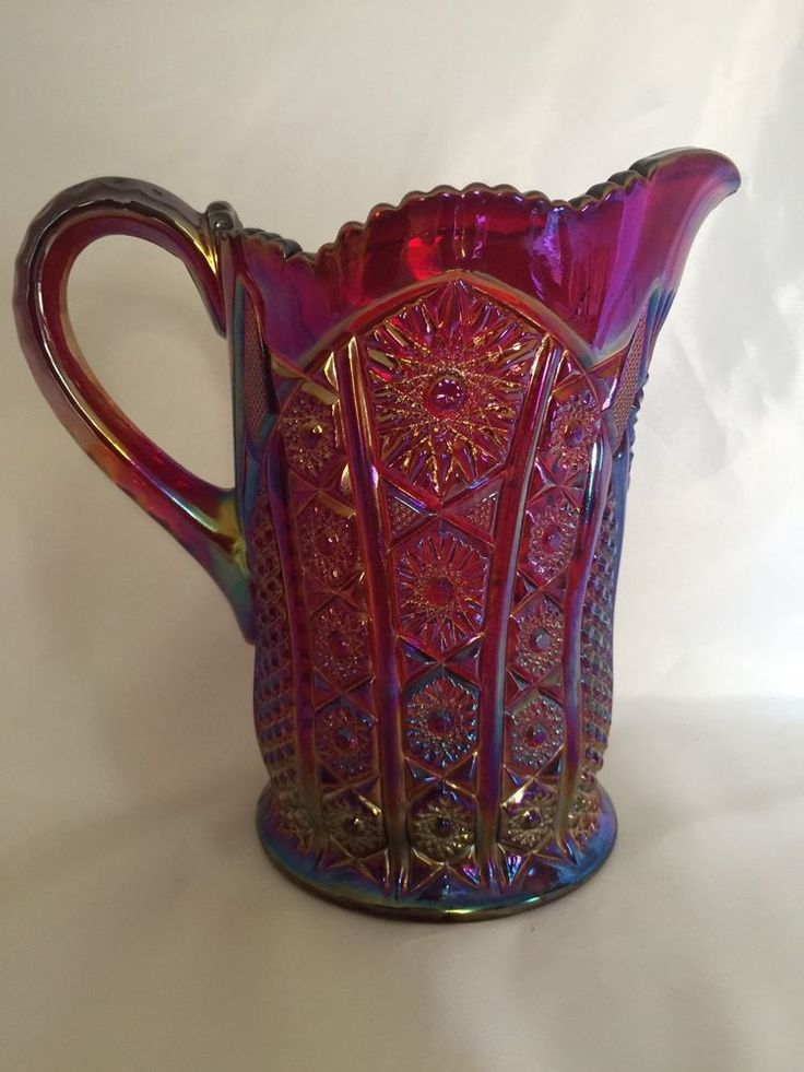 Indiana Carnival Glass Pitcher Red Iridescent Heirloom 40 Ounces 7 Inch Tall Mom    eBay
