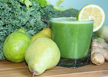 Kickin' it with Kale Juice |  INGREDIENTS: 2 pears ½ head of broccoli 4 kale leaves 2 celery stalks 1 lime 1 in (2.5 cm) piece of fresh ginger