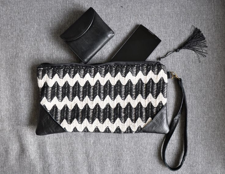 Handbag from Chevron like fabric combined with real leather.