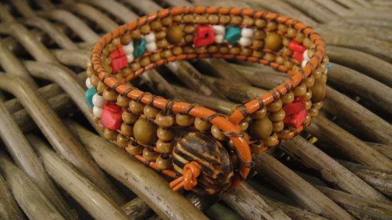 Boho style wrap energy bracelet turquoise by UniqueDScandinavia