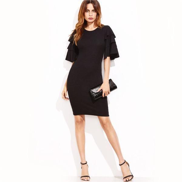 Black Ruffle Sleeve Casual Dress