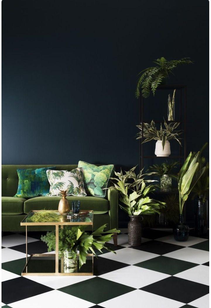 Hague Blue walls; moss green sofa... Sublime combination