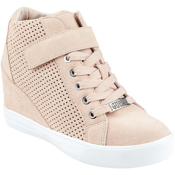 GUESS Decia Wedge Hightop Sneakers (4.965 RUB) ❤ liked on Polyvore featuring shoes, sneakers, wedge heel sneakers, high top shoes, lace up wedge sneakers, wedge hi tops and wedge shoes