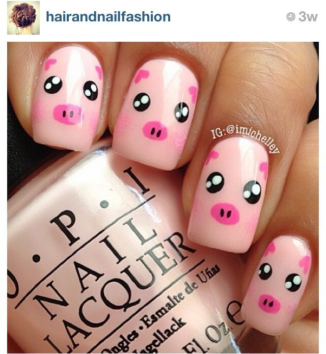 Best 25 cute nail designs ideas on pinterest pretty nails 15 pretty and cute pig nails for girls prinsesfo Choice Image