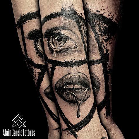 Eyes tattoo and lips tattoo by Alain Garcia, Realism Tattoo Artist in Sydney   Black and grey tattoo   Sydney Tattoo Australia. #tattoo #blackandgrey #eye #lips