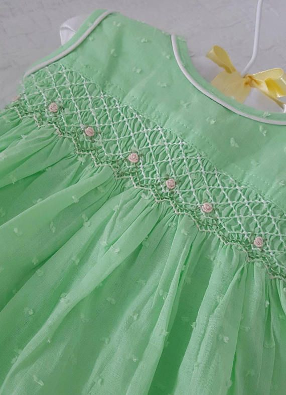 Gorgeous pale green hand smocked baby dress with embroidered roses - size 3-6 months