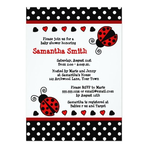 Red Ladybug Baby Shower Black And White Polka Dots 5x7 Paper Invitation Card