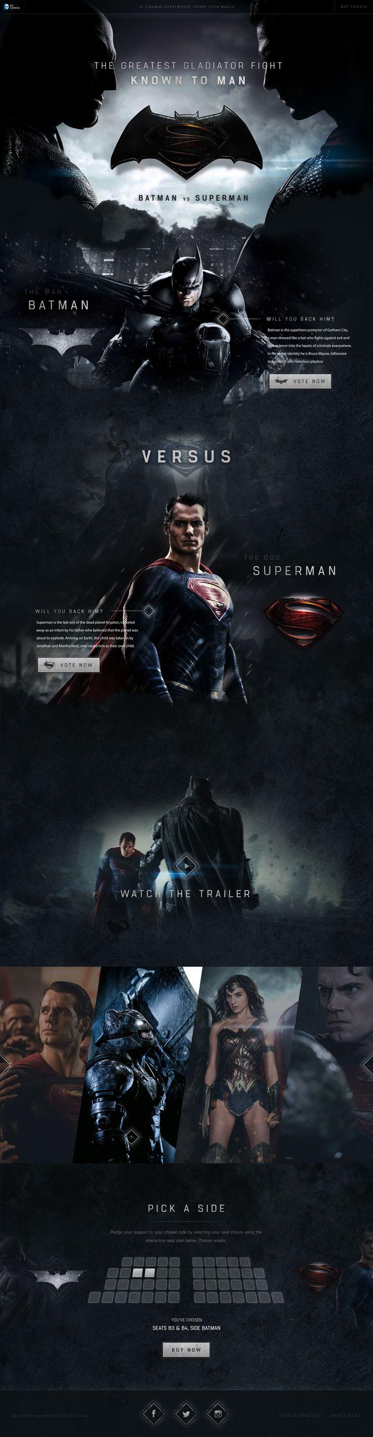 Batman vs Superman Website Concept by Green Chameleon