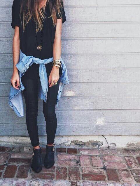 black oversized tee + jean jacket (wrapped around waist) + black leggings + black boot heels