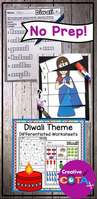 No Prep Diwali Theme Worksheets