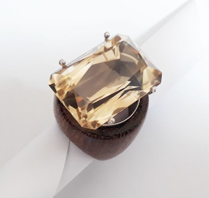 huge citrine and wood ring by kingwoodbrazil