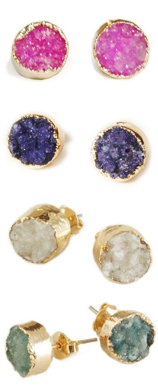 Agate Druzy Gold Dipped Stud Earrings