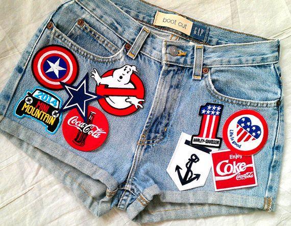 Patched Denim / Reworked Vintage Jean Shorts by Joyjean645Vintage
