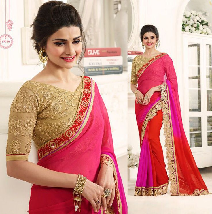 saree blouse elegant indian ethnic bollywood wedding party women girls sari suit #Shoppingover #Saree