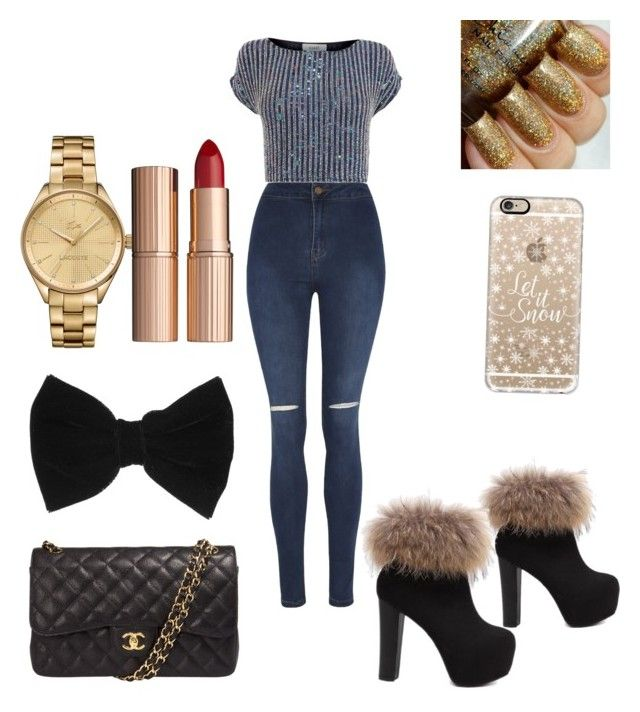 """""""Merry Christmas!!!"""" by yazzylovexoxo on Polyvore featuring George, Coast, Chanel, claire's, Casetify, Lacoste and Charlotte Tilbury"""