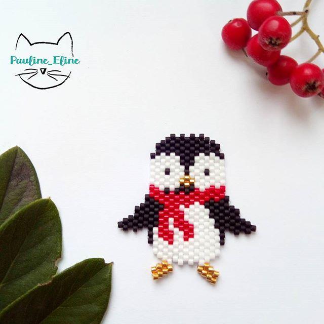 WEBSTA @pauline_eline Par ce temps neigeux, quoi de mieux qu'un petit pingouin dodu? J'ai aussi la version sans écharpe, que je vous mettrai en diagramme. Bonne journée les gens!