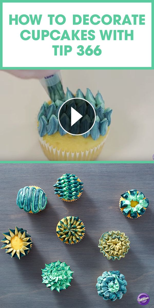 Watch this video tutorial to learn how to decorate 8 unique cupcake designs using only one tip - Wilton decorating tip 366!