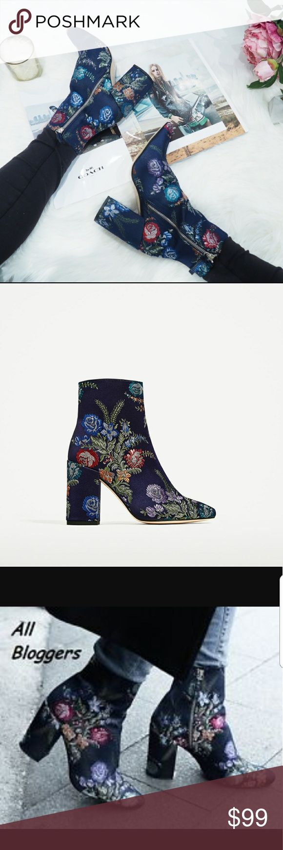 Zara embroidered ankle boots New with tag. EUR 37 US 6.5. Blue high heel ankle boots.   Printed fabric detail. Rounded toe.   Side zip closure. Block heel.   Upper: 100% Polyester   Lining: 80% Polyurethane, 20% Polyester   Sole:100% Vulcanized Rubber   SLIPSOLE  : 100% goat leather   SIZE  EUR   37 / US 6.5 / UK 4   Colour : Blue/Floral Zara Shoes Ankle Boots & Booties