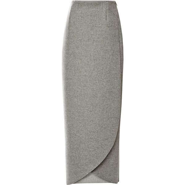 Rosie Assoulin Wrap Wool-Flannel Maxi Skirt ($850) ❤ liked on Polyvore featuring skirts, maxi skirt, bottoms, faldas, grey, long skirts, gray pencil skirt, gray maxi skirt and grey pencil skirt
