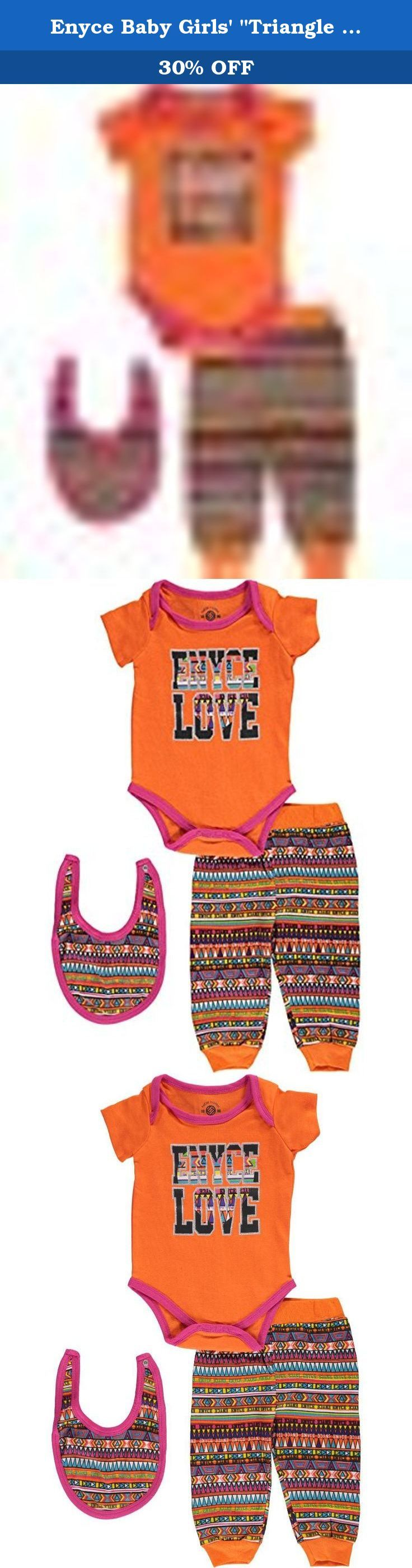 """Enyce Baby Girls' """"Triangle Print"""" 3-Piece Layette Set - orange, 6 - 9 months. They'll love the soft construction and fun accents of this Enyce 3-piece layette set! Enyce 3-piece layette set Jersey bodysuit with lap collar and easy-change snaps (100% cotton) Jersey joggers with elastic waistband (100% cotton) Bib with snap closure (100% cotton) Machine wash cold, inside out Imported."""