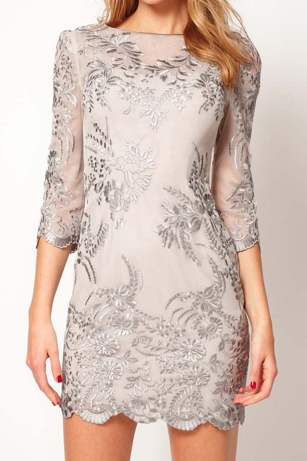 Lace dress embroidered embroidery round 7 points sleeve dress_Dresses(d)_DESIGNER_Voguec Shop