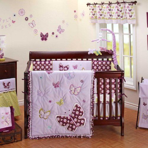 Bedroom Design Ideas Grey Bedroom Design Pink And Black Pier One Bedroom Sets Baby Boy Bedroom Designs: 8 Best Purple Butterfly Crib Bedding Images On Pinterest